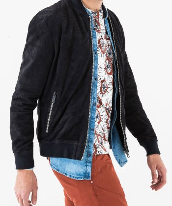 MORATO PERFORATED SUEDE BOMBER JACKET