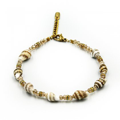 Natural shells and beige glass crystal anklet