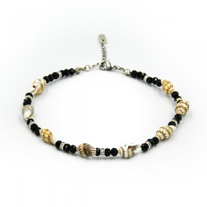 Natural shells and black glass crystal anklet