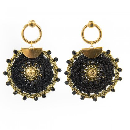 Black knitted and round stainless steel clasp earrings.