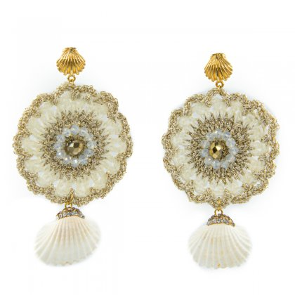 Beige knitted and natural shell with marcasite earrings.