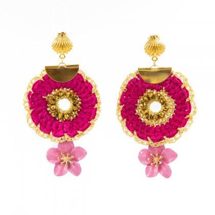Pink crochet earrings with metal flower