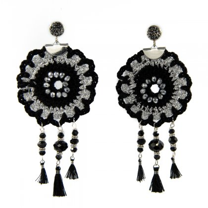 Black knitted and silver metal casp with marcasite earrings.