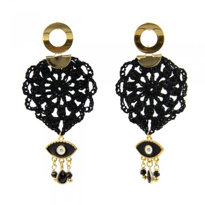 Black knitted ,gold-plated eye and glass crystal parts earrings.