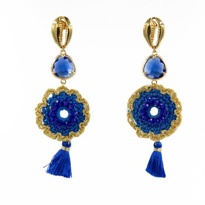 Small blue ,tassel and gold-plated shell casp earrings.