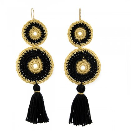 Black-gold double knitted and black tessel earrings.