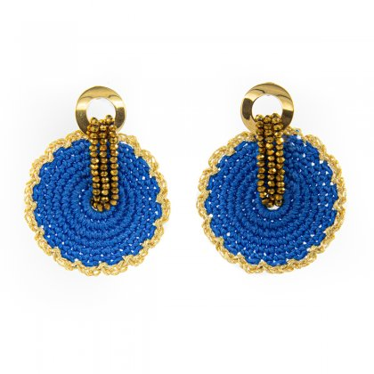 Blue knitted and gold glass crystal earrings.