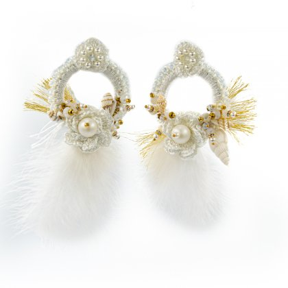 White knitted glass crystal and feather  bridal earrings