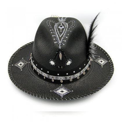 Black embroidered feather hat