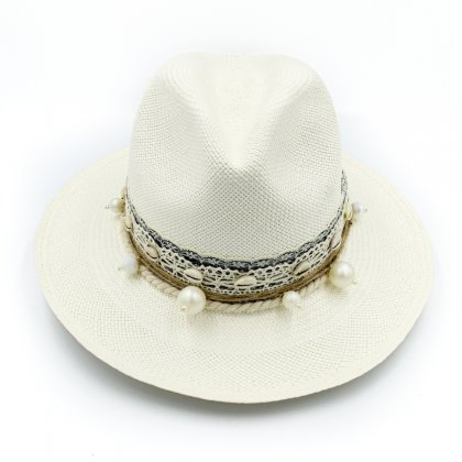White boho bridal hat with pearls