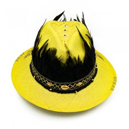 Yellow feather hat
