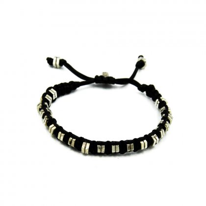 Leather black and silver-tone  brass parts bracelets.