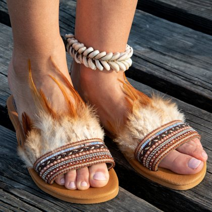 Boho feather leather sandals