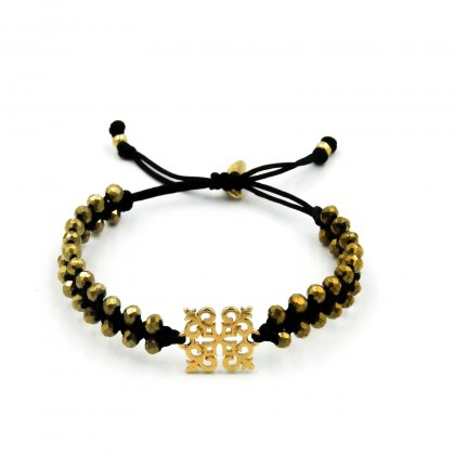 Gold metal Square and glass crystal bracelet.