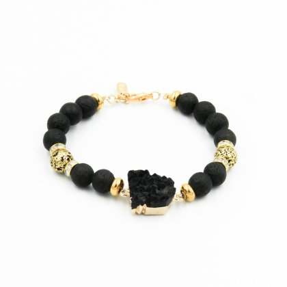 Agate black stone  and gold plated lava stone.