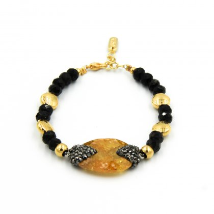 Yellow agate bead and gold plated shell bracelet.