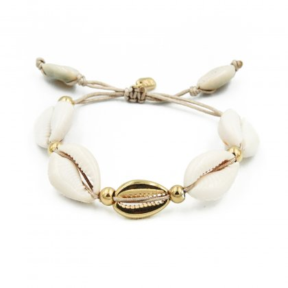 Natural shell and gold plated shell bracelet.