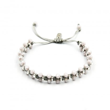 Silver hematite and pink glass crystal bracelet.