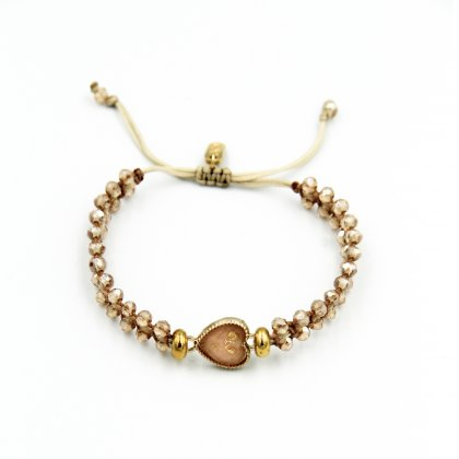 Gold metal heart and nude glass crystal bracelet.