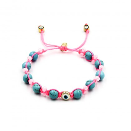 Pink neon ,turquoise chaolite and pink glass crystal bracelet.