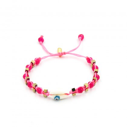 Pink neon ,fuchsia glass crystal and gold plated stars macrame bracelet.