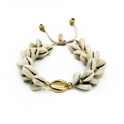 Boho natural double shell and gold plated shell bracelet.