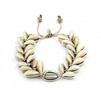 Boho natural double shell and silver plated shell bracelet.