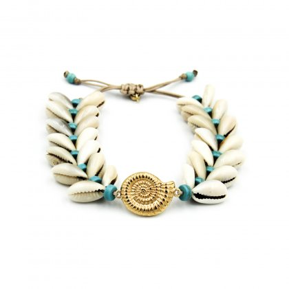 Natural double shell and turquoise boho parts macrame bracelet.