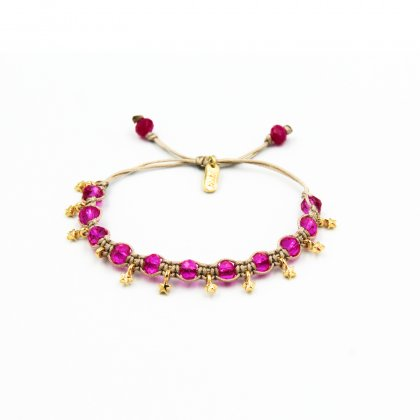 Natural Cord , Fuchsia Crystals Macrame Bracelet.