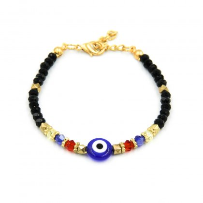 Evil Eye With Black Crystals Bracelet.