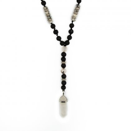 Beaded rosary with lava stone necklace.
