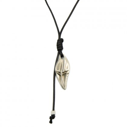 Leather metal shark tooth necklace.