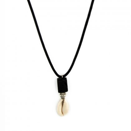 Natural shell and lava stone necklace.