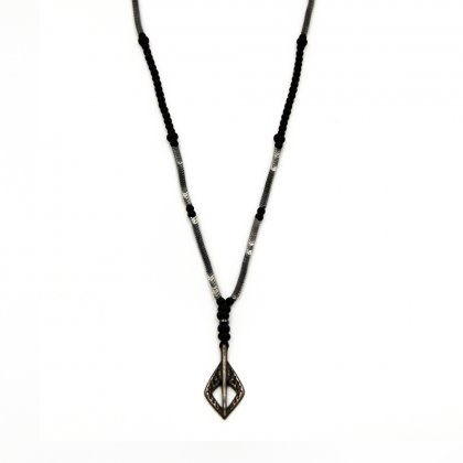 Ganmetal spear  and hematite arrow rosary necklace.