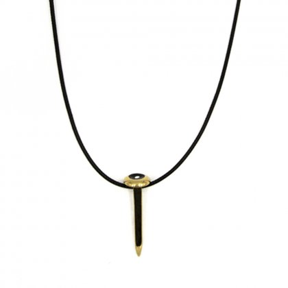 Leather gold-tone nail necklace.