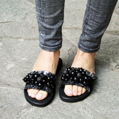 Lava stone and black balls leather sandals